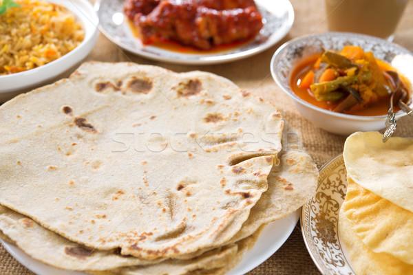 Indiai étel curry tyúk rizs saláta tej Stock fotó © szefei
