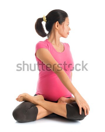 Pregnant yoga position  Stock photo © szefei