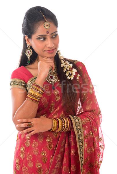 Indian woman thinking Stock photo © szefei