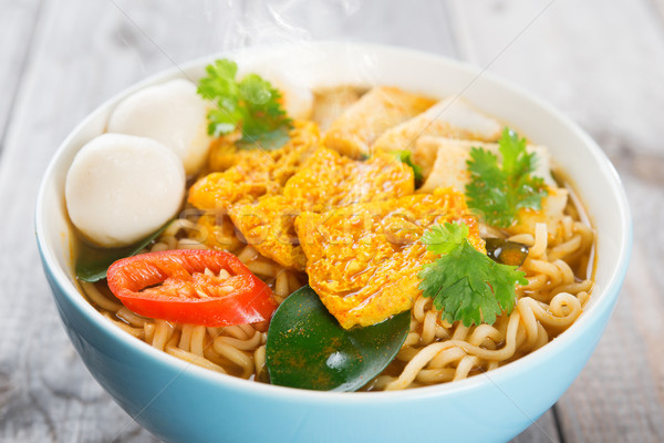 Close up spicy curry instant noodles Stock photo © szefei