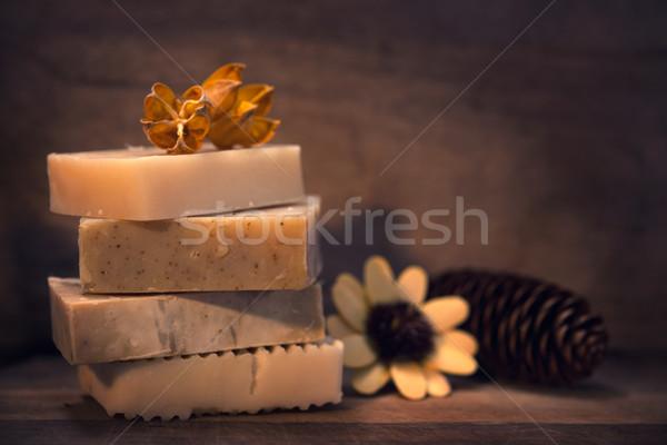Kéz vegan szappan kézzel készített alacsony fény Stock fotó © szefei