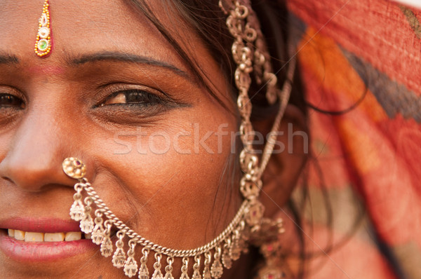 Portrait of traditional Indian woman in saree Stock photo © szefei