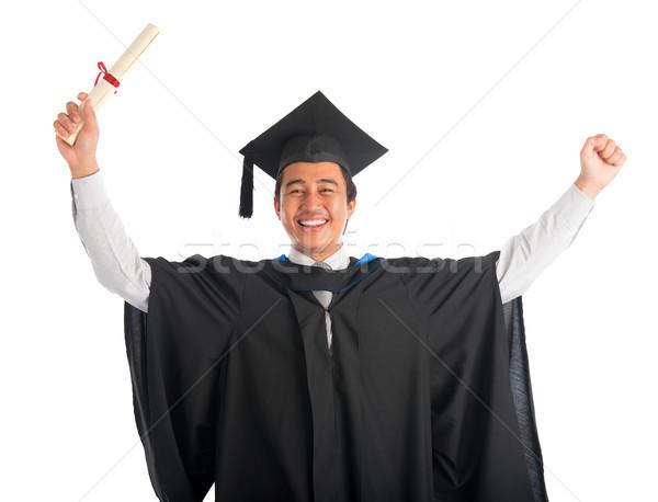 Stock fotó: Derűs · diplomás · egyetemi · hallgató · derék · felfelé · boldog