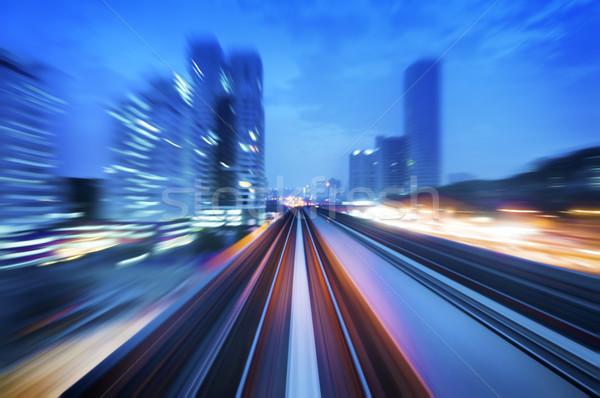 Nagysebességű vonat Kuala Lumpur város alkonyat óra Stock fotó © szefei