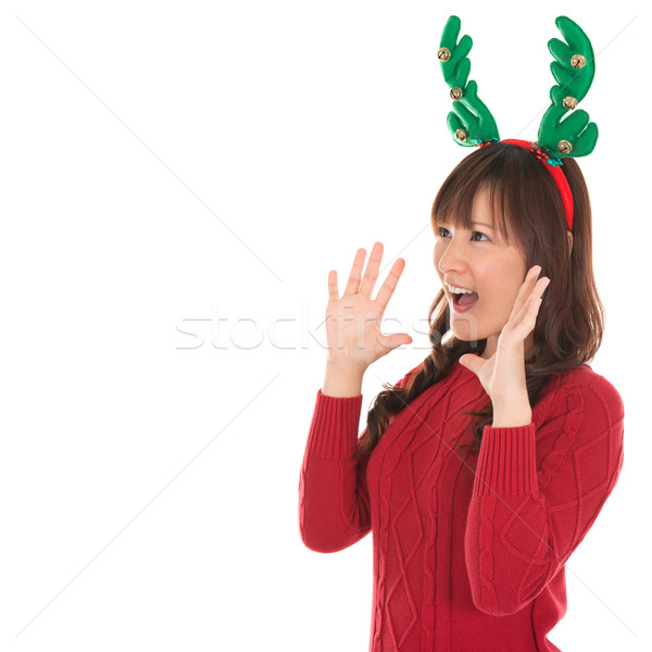 Happy Asian Santa woman shouting Stock photo © szefei