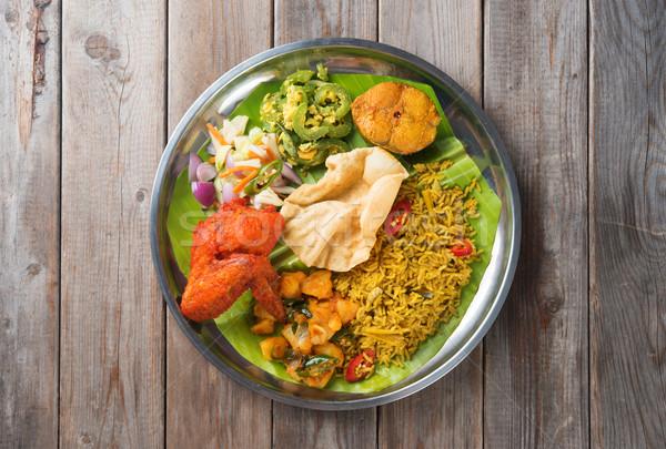 Rijst eettafel indian houten Stockfoto © szefei