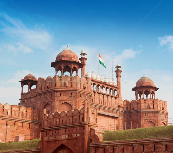 Rosso fort cielo blu Delhi India cielo Foto d'archivio © szefei