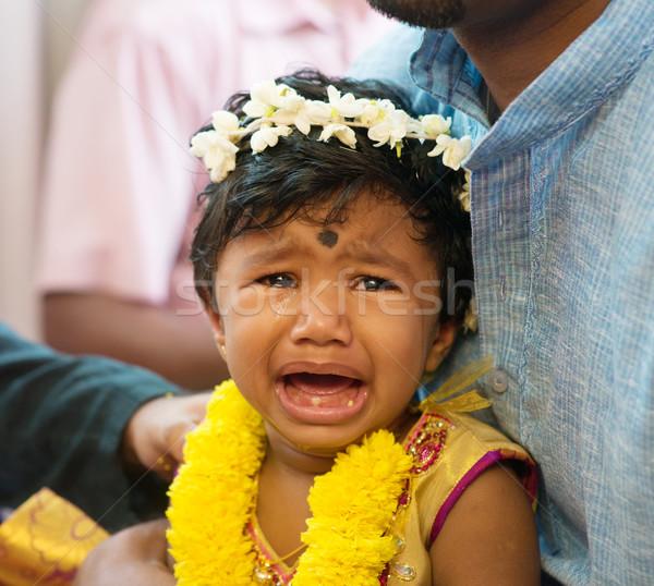 Foto stock: Indiano · menina · choro · eventos · tradicional · ouvido