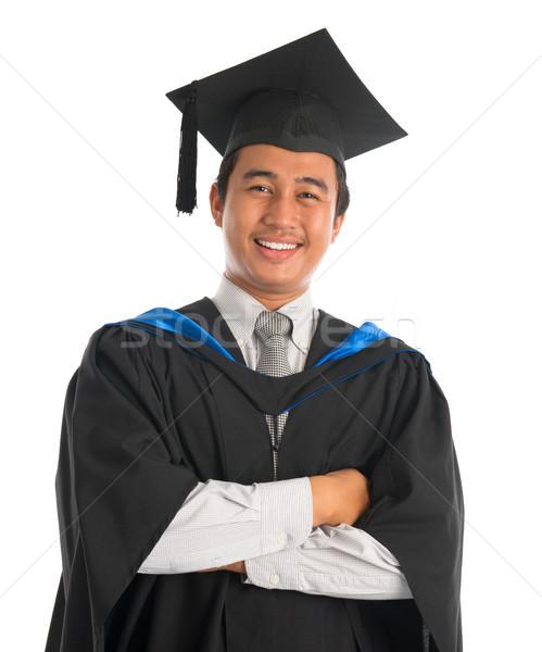 Stock fotó: Boldog · egyetemi · hallgató · érettségi · derék · felfelé · ázsiai