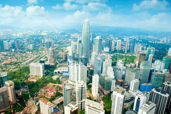 Légifelvétel Kuala Lumpur városkép nappal kék ég sziluett Stock fotó © szefei