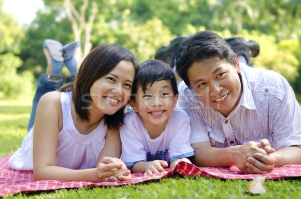 Famiglia felice outdoor felice asian famiglia natura Foto d'archivio © szefei