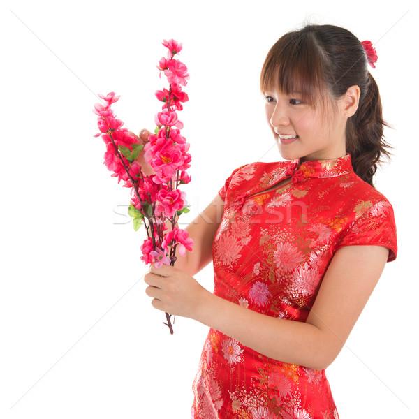Chinese cheongsam girl decorate Stock photo © szefei
