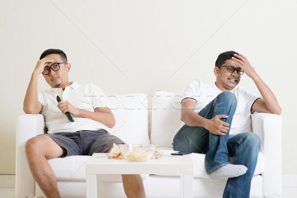 Stok fotoğraf: Erkekler · izlerken · futbol · maç · birlikte · oturma