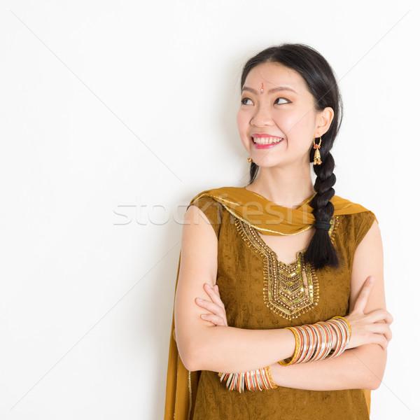 Mixed race Indian female in sari dress Stock photo © szefei