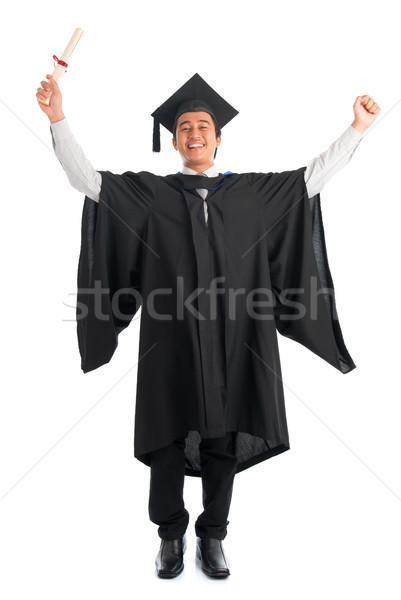 Diplomás egyetemi hallgató éljenez egészalakos izgatott ázsiai Stock fotó © szefei
