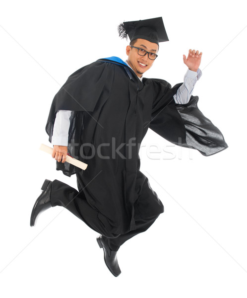 Asian graduation robe excité Photo stock © szefei