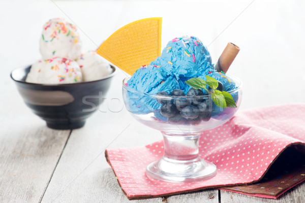 Blue ice cream and vanilla icecream Stock photo © szefei