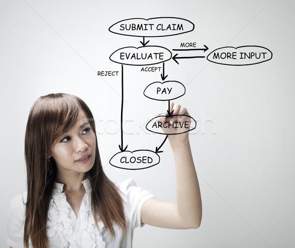 Verzekering beweren agent uitleggen diagram medische Stockfoto © szefei