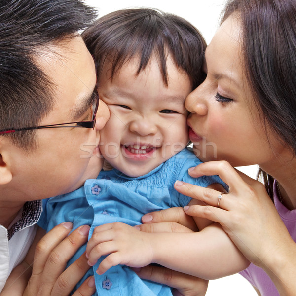Amour parents fille baiser femme famille Photo stock © szefei