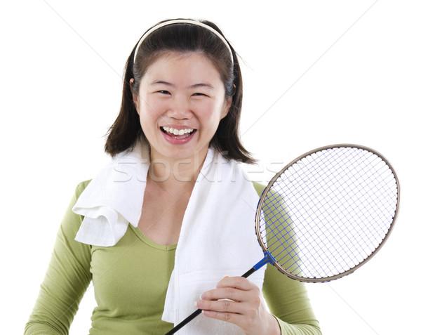 Badminton jogador feliz asiático feminino Foto stock © szefei