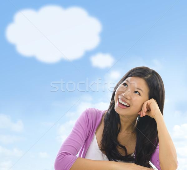 Pensamiento nubes Asia nina burbuja de pensamiento cielo azul Foto stock © szefei