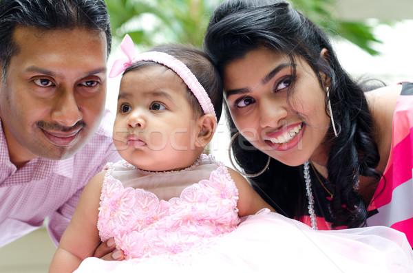 Indian parents and baby girl Stock photo © szefei