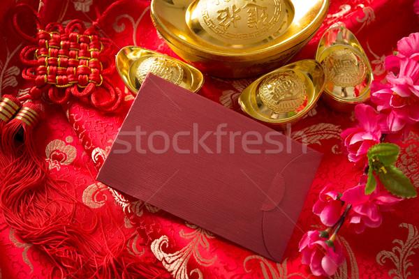 Ano novo chinês monetário festival decorações vermelho cópia espaço Foto stock © szefei