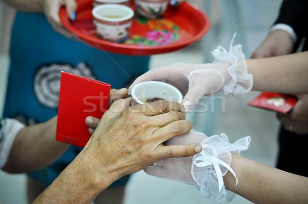 китайский свадьба чай церемония рук Сток-фото © szefei
