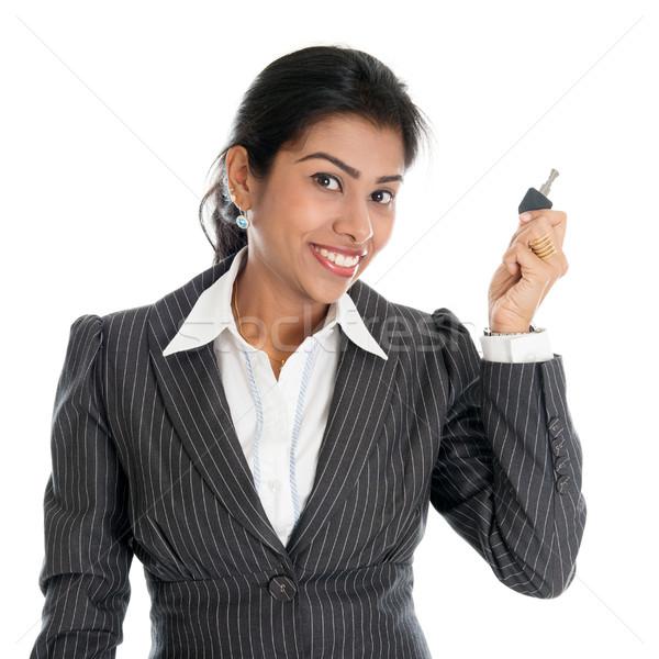 индийской женщину собственности ключевые агент стороны Сток-фото © szefei