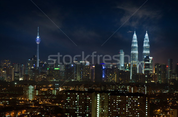 Kuala Lumpur gece görmek ofis Stok fotoğraf © szefei
