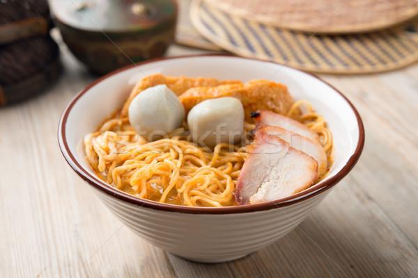 Köri makarna sıcak baharatlı gıda Stok fotoğraf © szefei