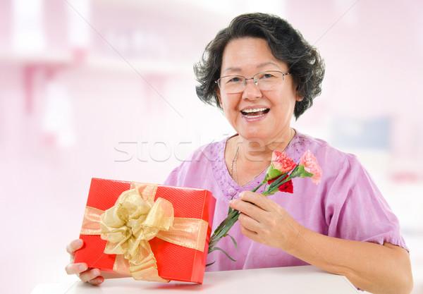 азиатских старший матери подарок Сток-фото © szefei