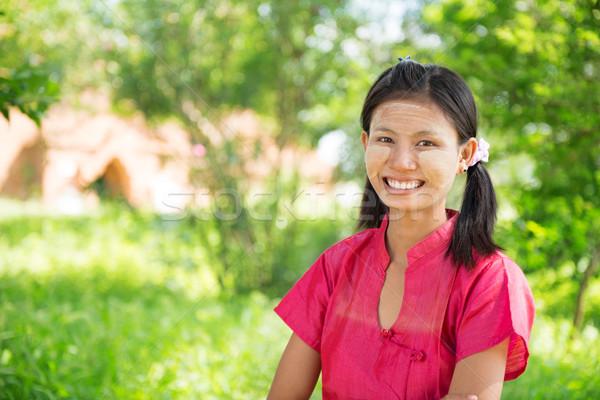 Мьянма девушки Постоянный Открытый портрет счастливым Сток-фото © szefei