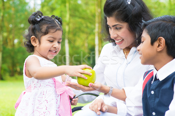 Indian girl sharing apple with family Stock photo © szefei