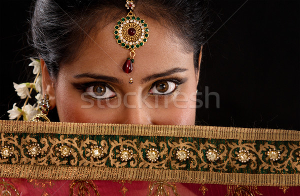 Mystery young Indian woman Stock photo © szefei