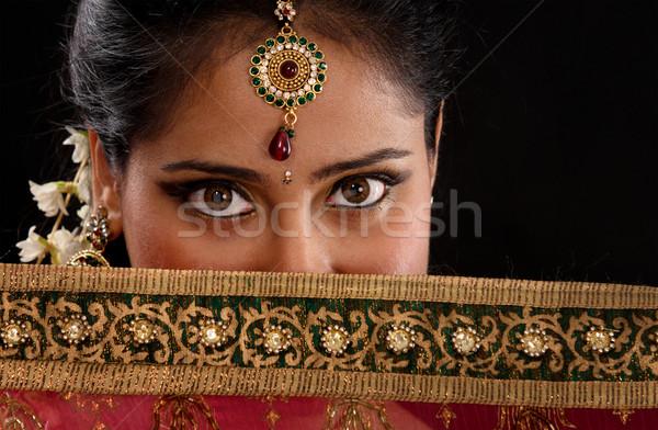 Tajemnicy młodych indian portret kobiety piękna dziewczyna Zdjęcia stock © szefei