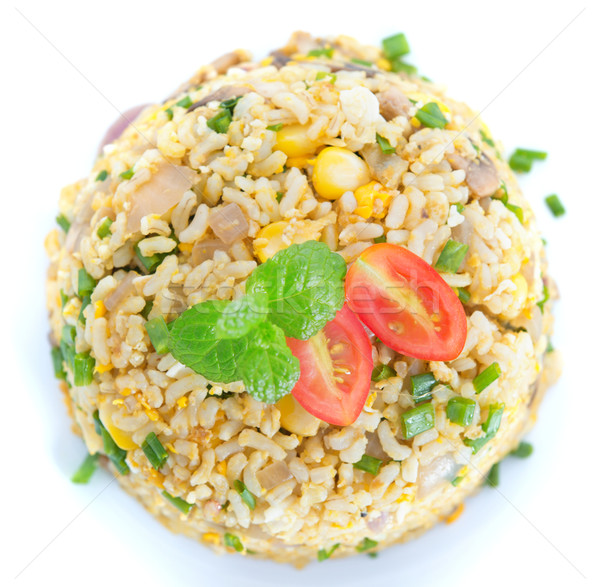 Chinese egg fried rice overview Stock photo © szefei