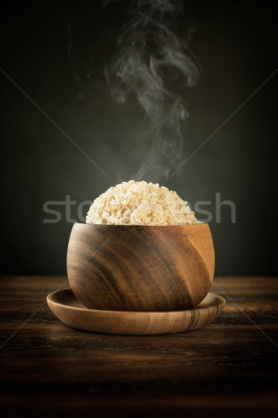 Cooked organic basmati brown rice with steam Stock photo © szefei