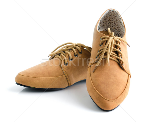 Casual brown leather unisex shoes Stock photo © szefei