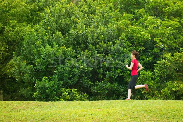 Stockfoto: Asian · meisje · jogging · outdoor · park · gelukkig