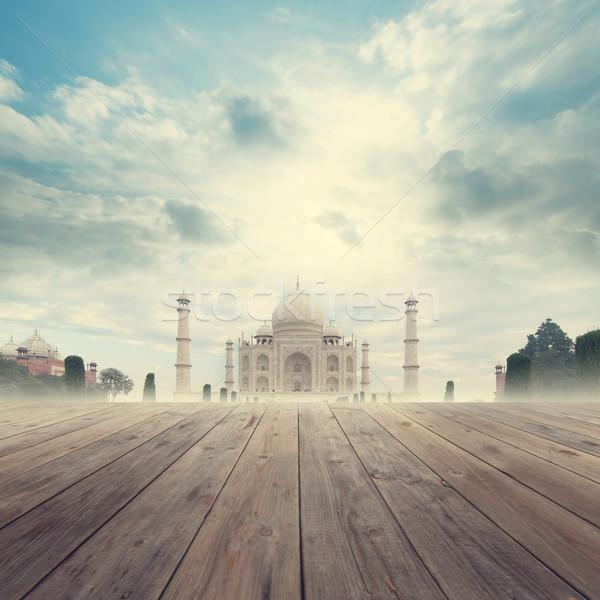 タージマハル インド 日の出 表示 木製 ストックフォト © szefei