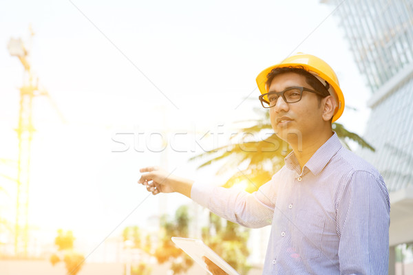 Asian Indian male contractor engineer on site Stock photo © szefei