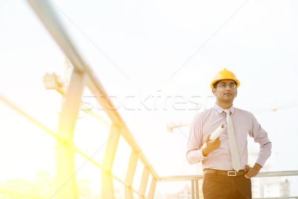Indian male site contractor engineer portrait Stock photo © szefei