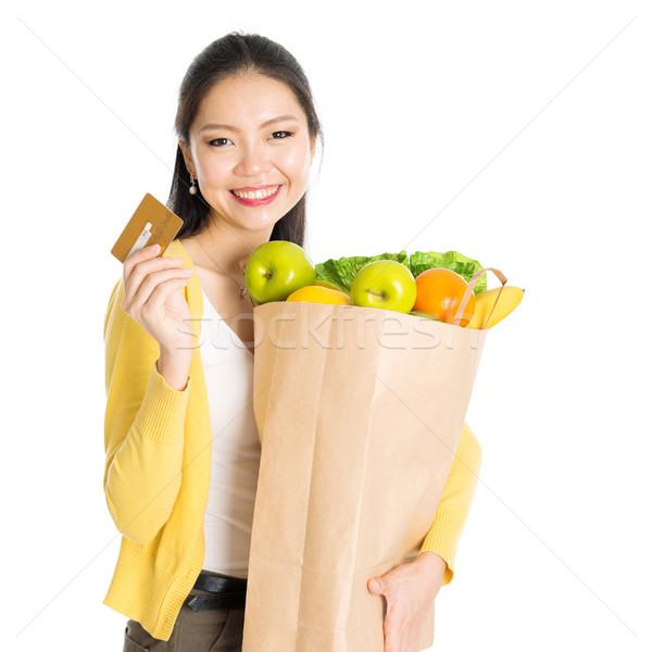 Kruidenier winkelen vrouw creditcard gelukkig jonge Stockfoto © szefei