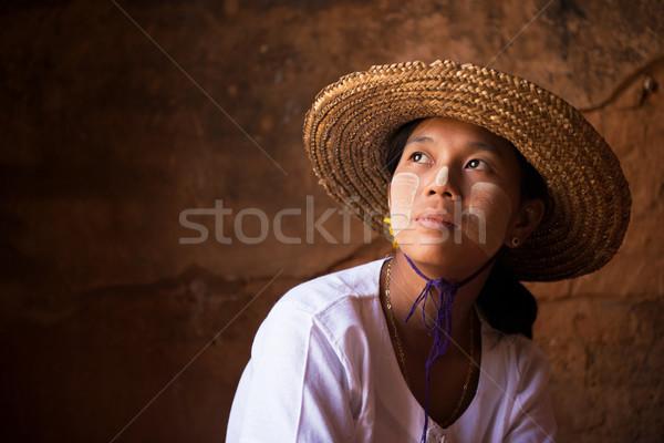 Мьянма девушки соломы горячей традиционный Сток-фото © szefei
