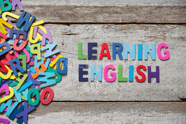 Inglês colorido palavras cartas Foto stock © szefei