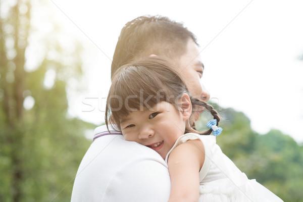 Foto stock: Padre · hija · aire · libre · Asia · familia · aire · libre