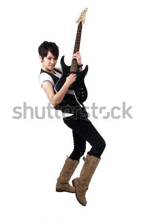 Punk rocksztár játszik gitár izolált fehér Stock fotó © szefei