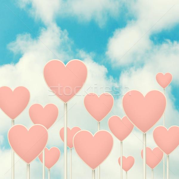 Corações assinar postar muitos amor forma de coração Foto stock © szefei