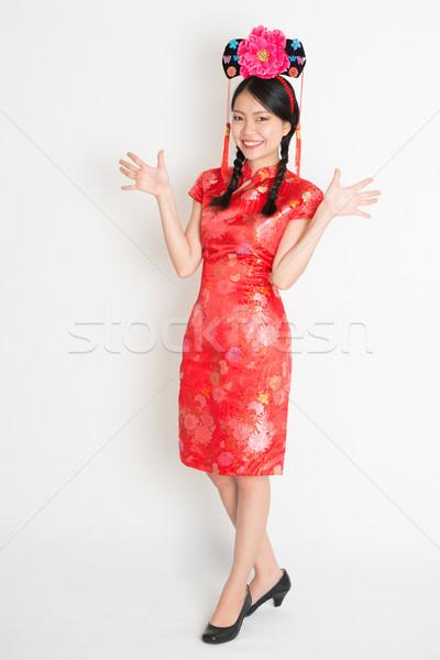Asian chinese girl with princess hat Stock photo © szefei